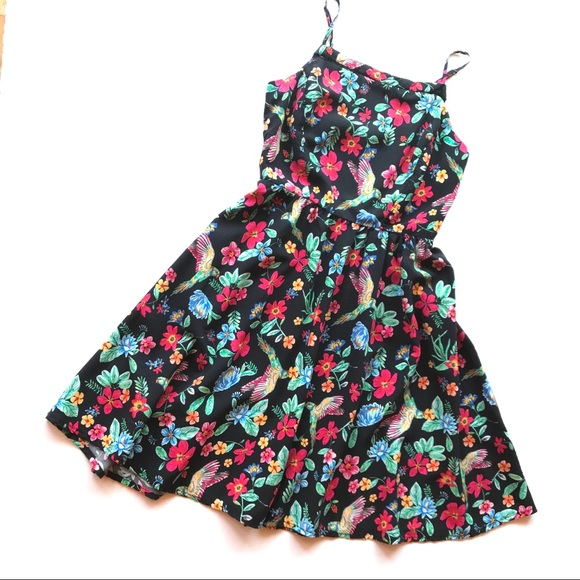 f8a57abd5a9ce Old Navy Dresses | Black Botanical Floral Parrot Summer Swing Dress ...